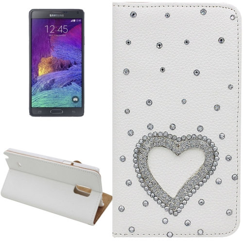 Buy Litchi Texture Heart Pattern Diamond Encrusted Leather Case with Holder and Card Slots for Samsung Galaxy Note 4 for $3.69 in SUNSKY store