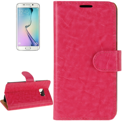 Buy For Samsung Galaxy S6 Edge Crazy Horse Texture Horizontal Flip Magnetic Buckle Leather Case with Card Slots & Wallet & Holder, Magenta for $2.09 in SUNSKY store