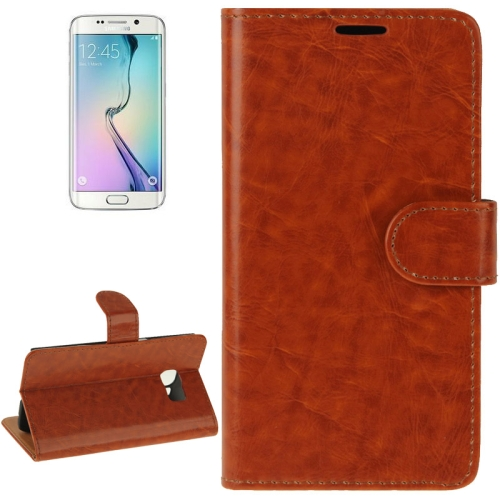 Buy For Samsung Galaxy S6 Edge Crazy Horse Texture Horizontal Flip Magnetic Buckle Leather Case with Card Slots & Wallet & Holder, Brown for $2.00 in SUNSKY store