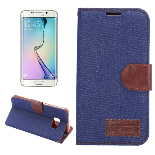 Buy For Samsung Galaxy S6 Edge / G9250 Denim Texture TPU Leather Case with Holder & Card Slots & Wallet (Dark Blue) for $2.43 in SUNSKY store