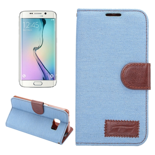 Buy For Samsung Galaxy S6 Edge / G9250 Denim Texture TPU Leather Case with Holder & Card Slots & Wallet, Blue for $2.43 in SUNSKY store