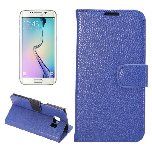 Buy For Samsung Galaxy S6 Edge / G9250 Lichee Texture PC PU Leather Case with Holder & Card Slots & Wallet, Blue for $2.23 in SUNSKY store