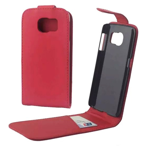 For Samsung Galaxy S6 / G920 Vertical Flip Magnetic Snap Leather Case, Red