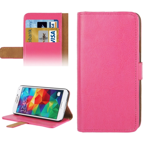 Buy Crazy Horse Texture Leather Case with Credit Card Slot & Holder for Samsung Galaxy S5 / G900, Magenta for $2.29 in SUNSKY store