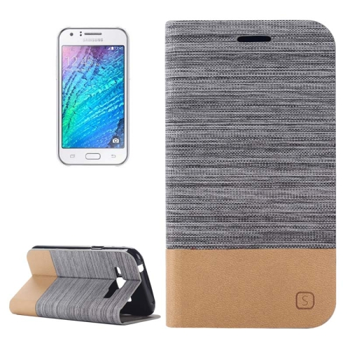 Buy Horizontal Flip Canvas Leather Case with Card Slot & Holder for Samsung Galaxy J1 (Dark Gray) for $2.36 in SUNSKY store