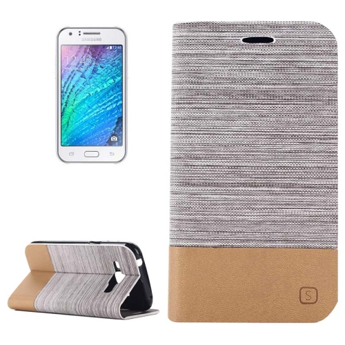 Buy Horizontal Flip Canvas Leather Case with Card Slot & Holder for Samsung Galaxy J1, Gray for $2.36 in SUNSKY store