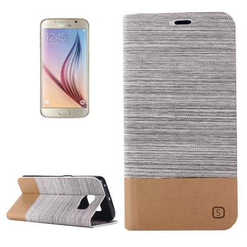 Buy For Samsung Galaxy S6 Horizontal Flip Canvas Leather Case with Card Slot & Holder, Gray for $2.36 in SUNSKY store