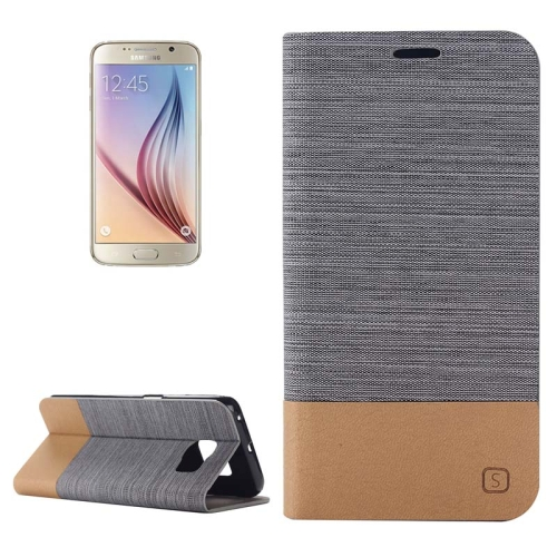 Buy For Samsung Galaxy S6 Horizontal Flip Canvas Leather Case with Card Slot & Holder (Dark Gray) for $2.36 in SUNSKY store