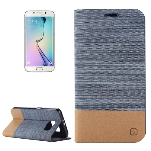 Buy For Samsung Galaxy S6 Edge Horizontal Flip Canvas Leather Case with Card Slot & Holder, Blue for $2.48 in SUNSKY store