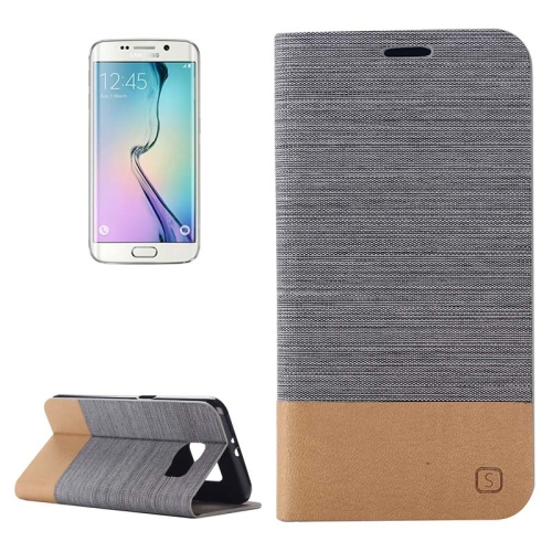 Buy For Samsung Galaxy S6 Edge Horizontal Flip Canvas Leather Case with Card Slot & Holder  (Dark Gray) for $2.48 in SUNSKY store