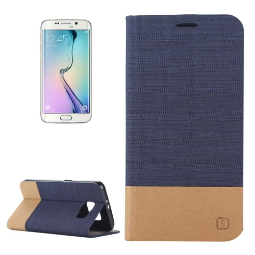 Buy For Samsung Galaxy S6 Edge Horizontal Flip Canvas Leather Case with Card Slot & Holder  (Dark Blue) for $2.36 in SUNSKY store