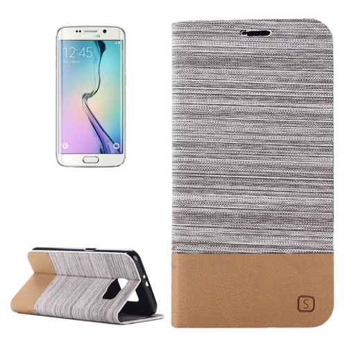 For Samsung Galaxy S6 Edge Horizontal Flip Canvas Leather Case with Card Slot & Holder, Gray