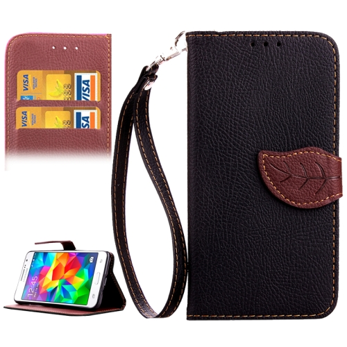 Buy Leaf Magnetic Snap Litchi Texture Horizontal Flip Leather Case with Card Slots & Holder & Wallet & Lanyard for Samsung Galaxy Grand Prime / G530H, Black for $2.54 in SUNSKY store