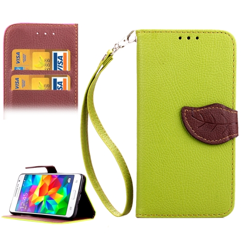 Buy Leaf Magnetic Snap Litchi Texture Horizontal Flip Leather Case with Card Slots & Holder & Wallet & Lanyard for Samsung Galaxy Grand Prime / G530H, Green for $2.54 in SUNSKY store