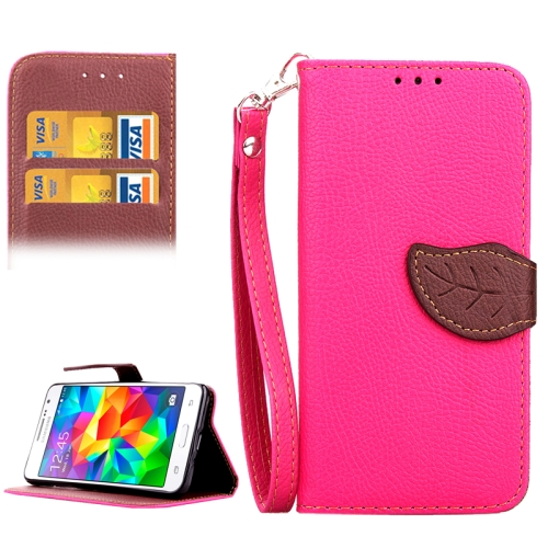 Buy Leaf Magnetic Snap Litchi Texture Horizontal Flip Leather Case with Card Slots & Holder & Wallet & Lanyard for Samsung Galaxy Grand Prime / G530H, Magenta for $2.54 in SUNSKY store