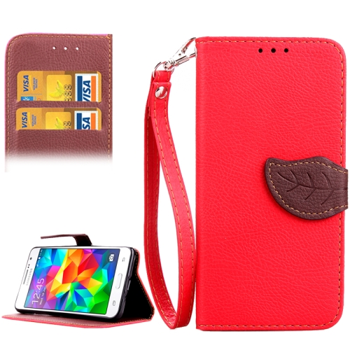 Leaf Magnetic Snap Litchi Texture Horizontal Flip Leather Case with Card Slots & Holder & Wallet & Lanyard for Samsung Galaxy Grand Prime / G530H, Red