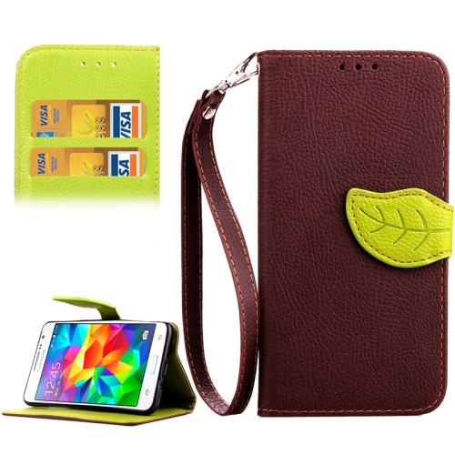 Buy Leaf Magnetic Snap Litchi Texture Horizontal Flip Leather Case with Card Slots & Holder & Wallet & Lanyard for Samsung Galaxy Grand Prime / G530H, Brown for $2.54 in SUNSKY store