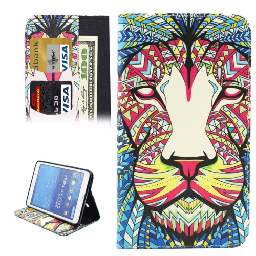 Buy Colorful Cartoon Lion Pattern Horizontal Flip Leather Case with Holder & Card Slots & Wallet for Samsung Galaxy Tab 4 7.0 / T230 for $4.71 in SUNSKY store