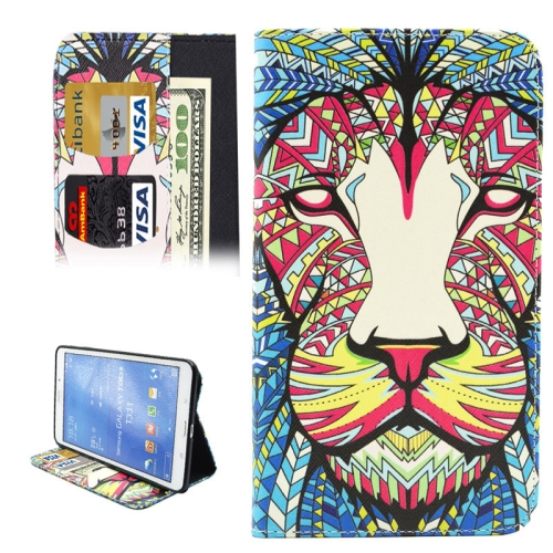 Buy Colorful Cartoon Lion Pattern Horizontal Flip Leather Case with Holder & Card Slots & Wallet for Samsung Galaxy Tab 4 8.0 / T330 for $4.74 in SUNSKY store