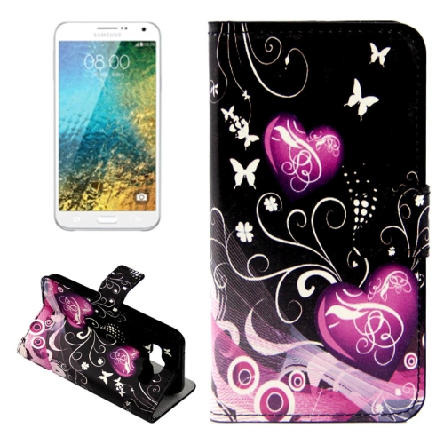 Buy Plain Weave Texture Crystal Butterflies and Hearts Pattern Horizontal Flip Leather Case with Card Slots & Wallet & Holder for Samsung Galaxy E5 / E500 for $2.44 in SUNSKY store