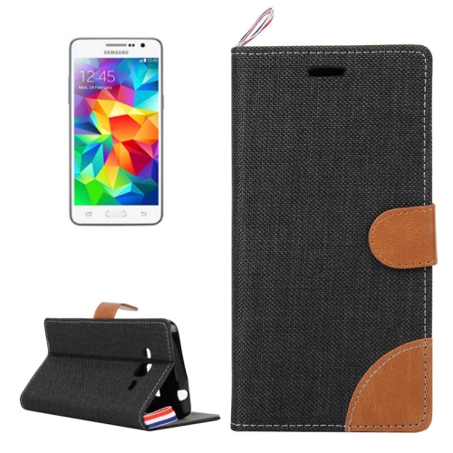 Buy Denim Texture Horizontal Flip Leather Case with Card Slots & Holder & Lanyard for Samsung Galaxy Grand Prime / G530 / G5308W, Black for $2.48 in SUNSKY store