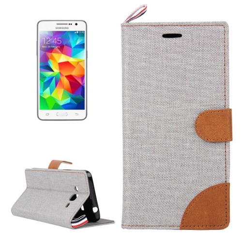 Buy Denim Texture Horizontal Flip Leather Case with Card Slots & Holder & Lanyard for Samsung Galaxy Grand Prime / G530 / G5308W, Grey for $2.48 in SUNSKY store