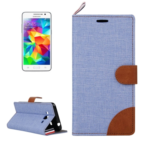Denim Texture Horizontal Flip Leather Case with Card Slots & Holder & Lanyard for Samsung Galaxy Grand Prime / G530 / G5308W (Baby Blue)