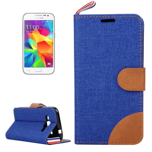 Buy Denim Texture Horizontal Flip Leather Case with Card Slots & Holder & Lanyard for Samsung Galaxy Core Prime / G360, Blue for $2.47 in SUNSKY store
