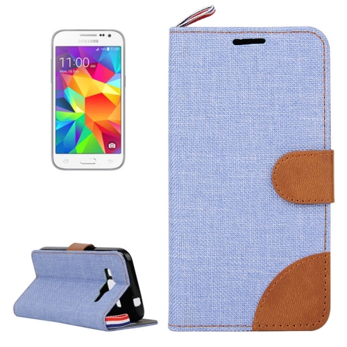 Buy Denim Texture Horizontal Flip Leather Case with Card Slots & Holder & Lanyard for Samsung Galaxy Core Prime / G360 (Baby Blue) for $2.47 in SUNSKY store