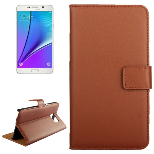 Buy Cowhide Texture Horizontal Flip Genuine leather Case with Card Slot & Holder for Samsung Galaxy Note 5 / N9200, Brown for $3.25 in SUNSKY store