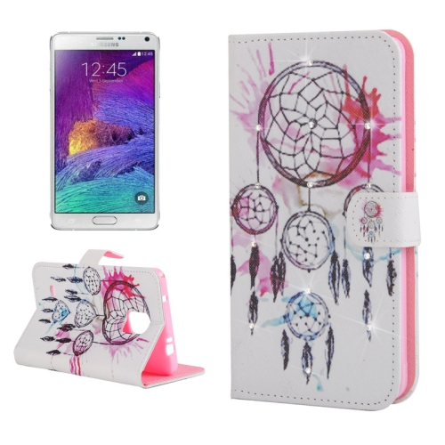 Buy White Background Windbell Pattern Horizontal Flip Diamond Encrusted Leather Case with Holder & Card Slot & Wallet for Samsung Galaxy Note 4 / N910 for $2.54 in SUNSKY store