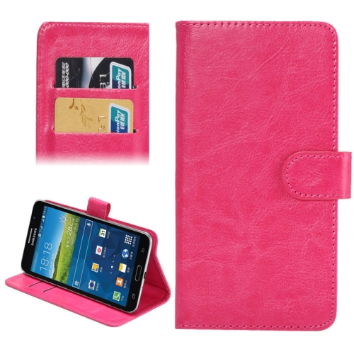 Buy 5.5-6.3 Inch Universal Crazy Horse Texture 360 Degree Rotating Carry Case with Holder & Card Slot for Samsung Galaxy Mega 6.3 / i9200, Magenta for $1.55 in SUNSKY store