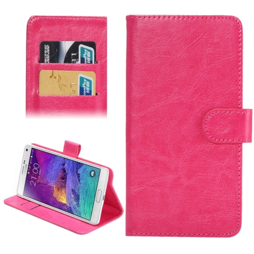 Buy 5.3-5.5 Inch Universal Crazy Horse Texture 360 Degree Rotating Carry Case with Holder & Card Slots for Samsung Galaxy Note I / II / III / IV, Magenta for $1.55 in SUNSKY store