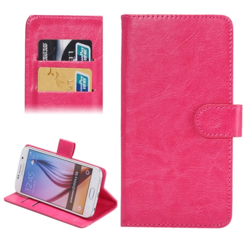 Buy 3.8-4.3 Inch Universal Crazy Horse Texture 360 Degree Rotating Carry Case with Holder & Card Slots for Samsung Galaxy SII / i9100 / iPhone 4 / 4s / 5 / 5c / 5s, Magenta for $1.57 in SUNSKY store