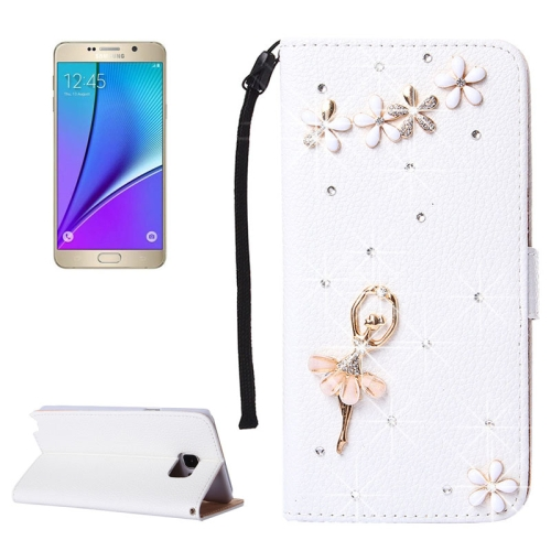 Buy 3D Girl Pattern Diamond Encrusted Horizontal Flip Leather Case with Holder & Card Slots & Lanyard for Samsung Galaxy Note 5 / N920 for $3.58 in SUNSKY store
