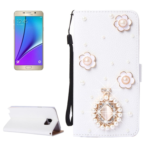 Buy 3D Flower Pattern Diamond Encrusted Horizontal Flip Leather Case with Holder & Card Slots & Lanyard for Samsung Galaxy Note 5 / N920 for $3.58 in SUNSKY store