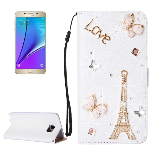 Buy 3D Tower Pattern Diamond Encrusted Horizontal Flip Leather Case with Holder & Card Slots & Lanyard for Samsung Galaxy Note 5 / N920 for $3.58 in SUNSKY store