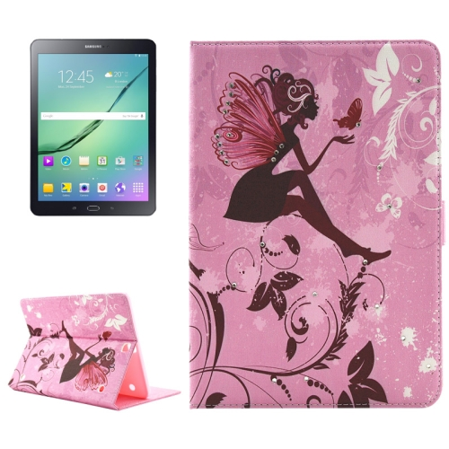 Buy Girl and Butterfly Pattern Diamond Encrusted Horizontal Flip Leather Case with Holder for Samsung Galaxy Tab S2 9.7 / T815 / T810 for $4.99 in SUNSKY store