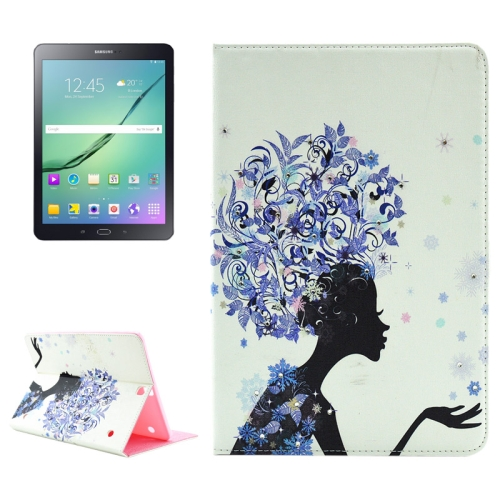 Buy Blue Flower Girl Pattern Diamond Encrusted Horizontal Flip Leather Case with Holder for Samsung Galaxy Tab S2 9.7 / T815 / T810 for $4.99 in SUNSKY store
