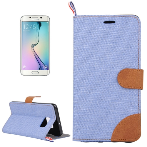 Buy For Samsung Galaxy S6 edge / G925 Denim Surface Horizontal Flip Leather Case with Card Slots & Holder, Blue for $2.51 in SUNSKY store
