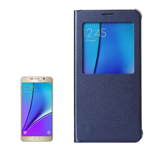 Buy Litchi Texture Horizontal Flip Leather Case with Sleep / Wake-up Function for Samsung Galaxy Note 5 / N920 (Dark Blue) for $2.76 in SUNSKY store