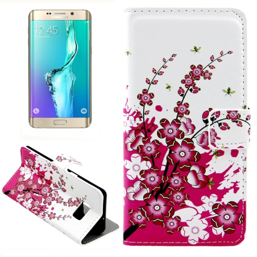 Buy For Samsung Galaxy S6 Edge + / G928 Plum Blossom Pattern Horizontal Flip Leather Case with Card Slots & Wallet & Holder for $2.39 in SUNSKY store