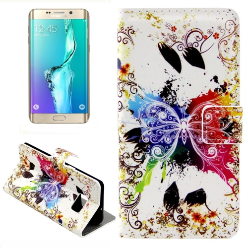 Buy For Samsung Galaxy S6 Edge + / G928 Creative Butterfly Pattern Horizontal Flip Leather Case with Card Slots & Wallet & Holder for $2.39 in SUNSKY store
