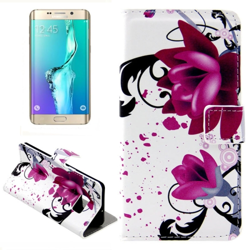 Buy For Samsung Galaxy S6 Edge + / G928 Purple Flowers Pattern Horizontal Flip Leather Case with Card Slots & Wallet & Holder for $2.39 in SUNSKY store