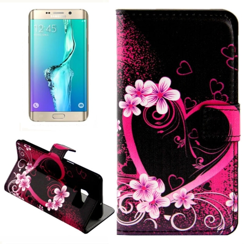 For Samsung Galaxy S6 Edge + / G928 Creative Heart-shaped Pattern Horizontal Flip Leather Case with Card Slots & Wallet & Holder