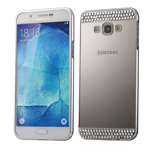 Buy Diamond Encrusted Push-pull Style Metal Plating Bumper Frame + Acrylic Back Cover Combination Case for Samsung Galaxy A8, Silver for $2.75 in SUNSKY store