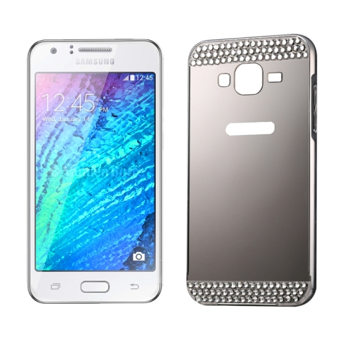 Buy Diamond Encrusted Push-pull Style Metal Plating Bumper Frame + Acrylic Back Cover Combination Case for Samsung Galaxy J1, Silver for $2.75 in SUNSKY store