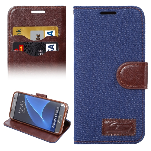 Buy For Samsung Galaxy S7 Edge/G935 Jeans Horizontal Flip Leather Case with Holder & Card Slots (Dark Blue) for $2.31 in SUNSKY store
