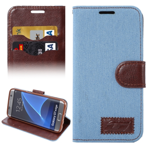 Buy For Samsung Galaxy S7 Edge/G935 Jeans Horizontal Flip Leather Case with Holder & Card Slots, Blue for $2.31 in SUNSKY store