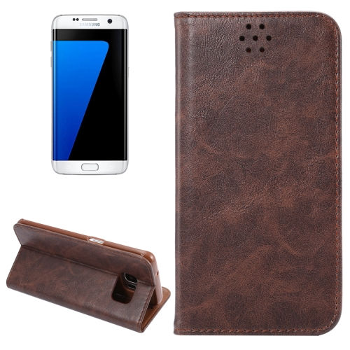 Buy For Samsung Galaxy S7 Edge / G935 Magnetic Crazy Horse Texture Horizontal Flip Leather Case with Holder & Card Slots, Coffee for $2.64 in SUNSKY store
